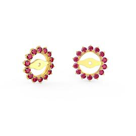 Fusion Ruby 18ct Gold Vermeil Gemburst Halo Earring Jackets