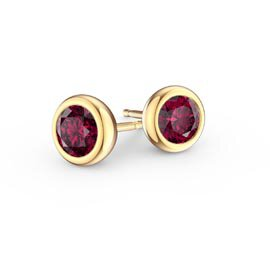 Infinity Ruby 9ct Yellow  Gold Stud Earrings