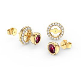 Infinity Ruby and White Sapphire 9ct Yellow Gold Stud Earrings Halo Jacket Set