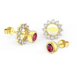 Infinity Ruby 9ct Yellow Gold Stud Starburst Earrings Halo Jacket Set