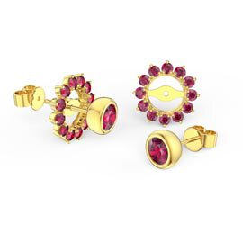 Infinity Ruby 9ct Yellow Gold Stud Gemburst Earrings Halo Jacket Set