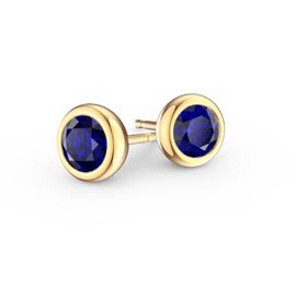 Infinity Sapphire 9ct Yellow Gold Stud Earrings