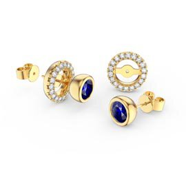 Infinity Sapphire 18ct Gold Vermeil Stud Earrings Halo Jacket Set