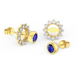 Infinity Sapphire 9ct Yellow Gold Stud Starburst Earrings Halo Jacket Set