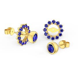 Infinity Sapphire 9ct Yellow Gold Stud Gemburst Earrings Halo Jacket Set