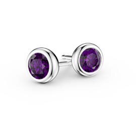 Infinity Amethyst 18ct White Gold Stud Earrings