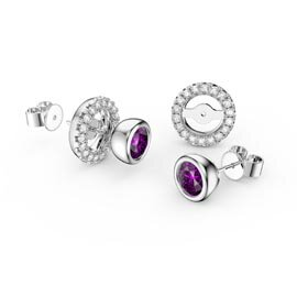 Infinity Amethyst Platinum plated Silver Stud Earrings Halo Jacket Set
