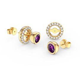 Infinity Amethyst 18ct Gold Vermeil Stud Earrings Halo Jacket Set