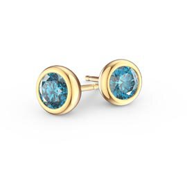 Infinity Blue Topaz 9ct Yellow Gold Stud Earrings