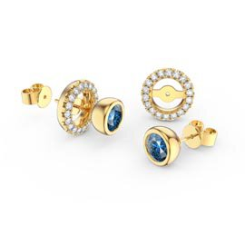 Infinity Blue Topaz 18ct Gold Vermeil Stud Earrings Halo Jacket Set