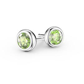 Infinity Peridot 18ct White Gold Stud Earrings