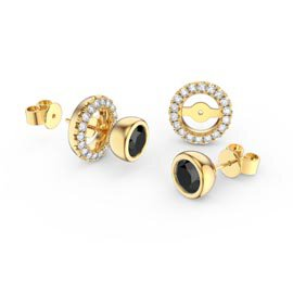 Infinity Onyx and White Sapphire 9ct Yellow Gold Stud Earrings Halo Jacket Set
