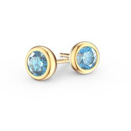 Infinity Aquamarine 18ct Gold Vermeil Stud Earrings