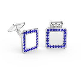 Signature Sapphire Platinum plated Silver Cushion Cufflinks
