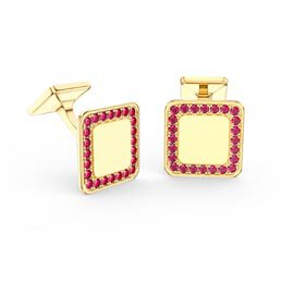 Signature Ruby 9ct Yellow Gold Cushion Cufflinks