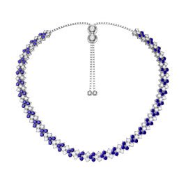 Eternity Three Row Sapphire Platinum plated Silver Adjustable Choker Tennis Necklace