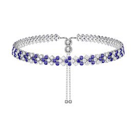 Eternity Three Row Sapphire and Diamond CZ Silver Adjustable Choker Tennis Necklace