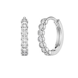 Infinity White Sapphire Platinum plated Silver Hoop Earrings Small