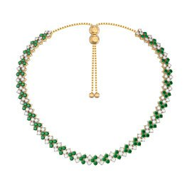 Eternity Three Row Emerald 18ct Gold Vermeil Adjustable Choker Tennis Necklace