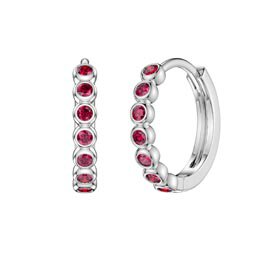 Infinity Ruby Platinum plated Silver Hoop Earrings Small