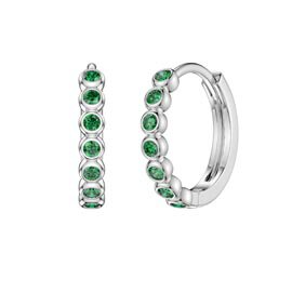 Infinity Emerald Platinum plated Silver Hoop Earrings