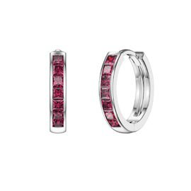 Princess Ruby Platinum plated Silver Hoop Earrings Small