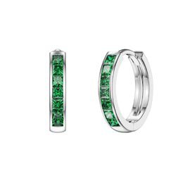 Princess Emerald Platinum plated Silver Hoop Earrings