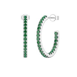 Eternity 1ct Emerald Platinum plated Silver Pave Hoop Earrings