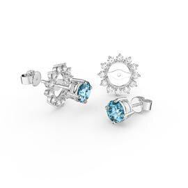 Fusion 1ct Swiss Blue Topaz 9ct White Gold Stud Earrings Starburst Halo Jacket Set