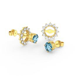 Fusion 1ct Swiss Blue Topaz 9ct Yellow Gold Stud Earrings Starburst Halo Jacket Set