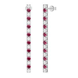 Eternity Ruby and White Sapphire Platinum Plated Silver Line Drop Earrings