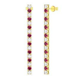 Eternity Ruby and White Sapphire 18ct Gold Vermeil Line Drop Earrings