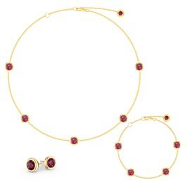 Ruby By the Yard 18ct Gold Vermeil Jewellery Set