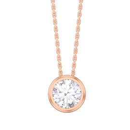 Infinity 1.0ct White Sapphire Solitaire 18ct Rose Gold Vermeil Bezel Pendant