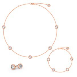 White Sapphire By the Yard 18ct Rose Gold Vermeil Jewellery Set