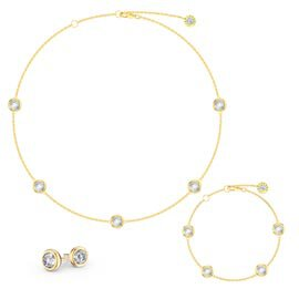 White Sapphire By the Yard 18ct Gold Vermeil Jewellery Set