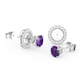 Fusion 1ct Amethyst Platinum Plated Silver Stud Earrings Halo Jacket Set