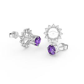 Fusion 1ct Amethyst 9ct White Gold Stud Earrings Starburst Halo Jacket Set