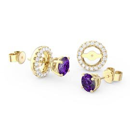 Fusion 1ct Amethyst 18ct Yellow Gold Vermeil Stud Earrings Halo Jacket Set