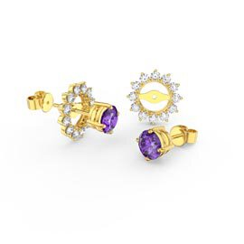 Fusion 1ct Amethyst 18ct Yellow Gold Vermeil Stud Earrings Starburst Halo Jacket Set