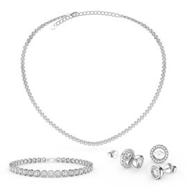 Infinity Diamond CZ Rhodium plated Silver Jewellery Set