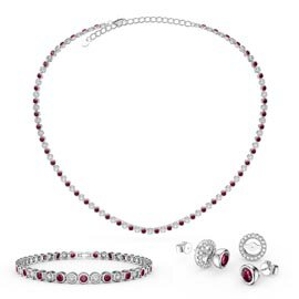 Infinity Ruby and Diamond CZ Rhodium plated Silver Jewellery Set