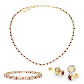 Infinity Ruby and Diamond CZ 18ct Gold plated Silver Jewellery Set