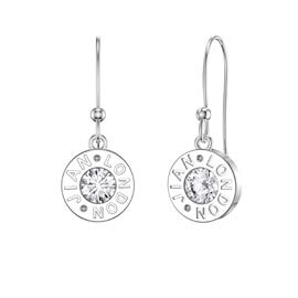 Charmisma Moissanite Platinum plated Silver Dainty Drop Earrings