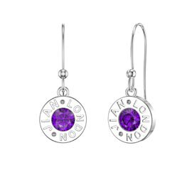 Charmisma Amethyst Platinum plated Silver Dainty Drop Earrings