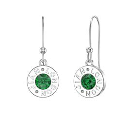 Charmisma Emerald Platinum plated Silver Dainty Drop Earrings