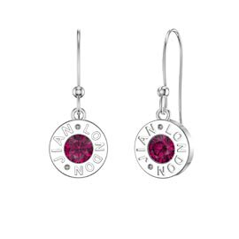 Charmisma Garnet Platinum plated Silver Dainty Drop Earrings