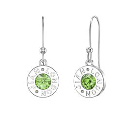 Charmisma Peridot Platinum plated Silver Dainty Drop Earrings