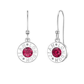 Charmisma Ruby Platinum plated Silver Dainty Drop Earrings