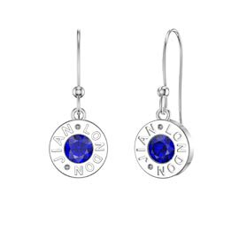Charmisma Sapphire Platinum plated Silver Dainty Drop Earrings